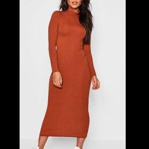 Ribbed Neck Midi Dress